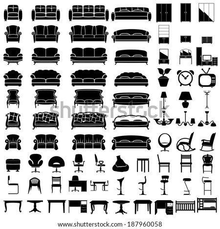 furniture icon set on white background. Vector. - stock vector