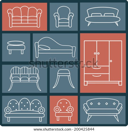 Furniture icon set, white line design - stock vector