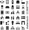 Furniture icons - stock photo