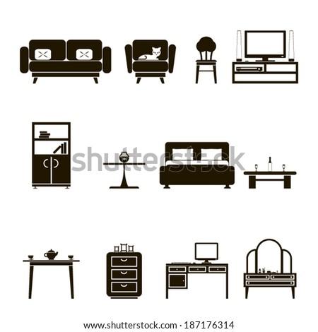 Furniture Icons and Symbols  Isolated Silhouette Set Vector Illustration - stock vector