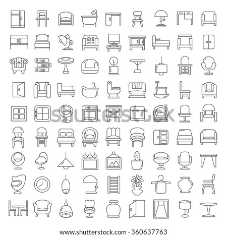 furniture icons, furniture design, vector furniture symbol, home decor icons, thin line theme