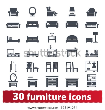 Furniture icons: hallway, dining, living room and bedroom vector set. - stock vector