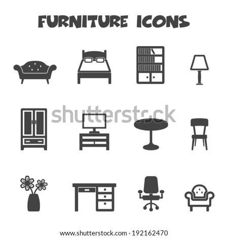 furniture icons, mono vector symbols - stock vector
