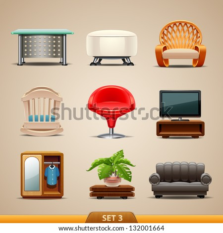 Furniture icons-set 3 - stock vector