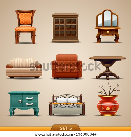 Furniture icons-set 5 - stock vector