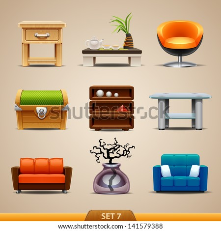 Furniture icons-set 7 - stock vector