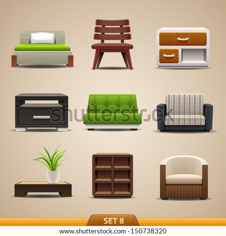 Furniture icons-set 8 - stock vector