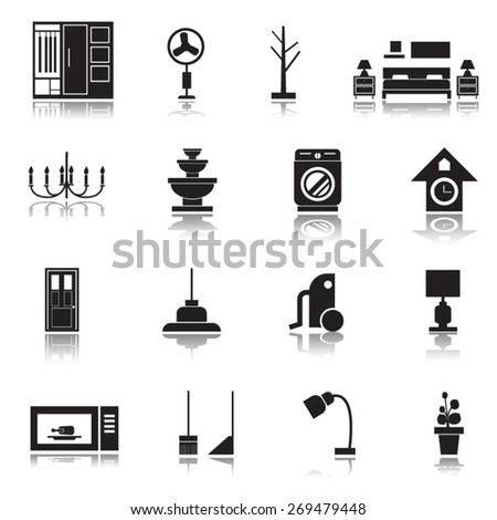 Furniture icons set,vector. - stock vector