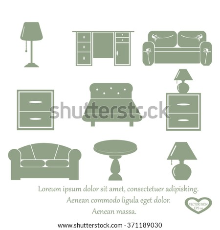 Furniture Icons Vector Set