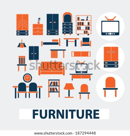 furniture, interior design icons, signs, elements set, vector  - stock vector