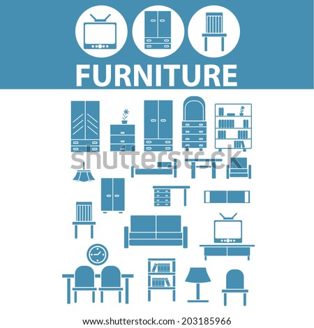 Furniture interior design icons signs symbols set vector for Interior design layout symbols