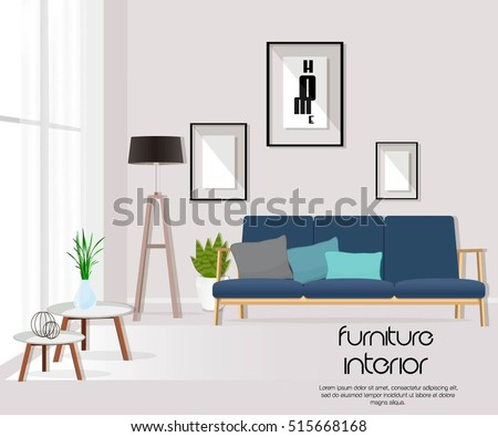 living room sofa table. Living room with sofa  table lamp pictures window Furniture Interior Room Sofa Table Stock Vector 515668168
