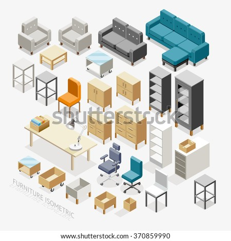 Furniture Isometric icons. Vector Illustration. - stock vector