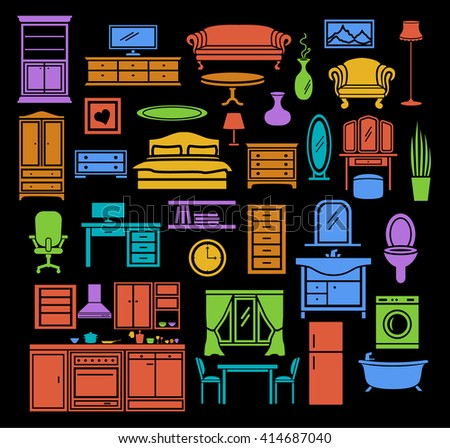 Furniture Items Icons Set In Color Bedroom Living Room Bathroom Objects