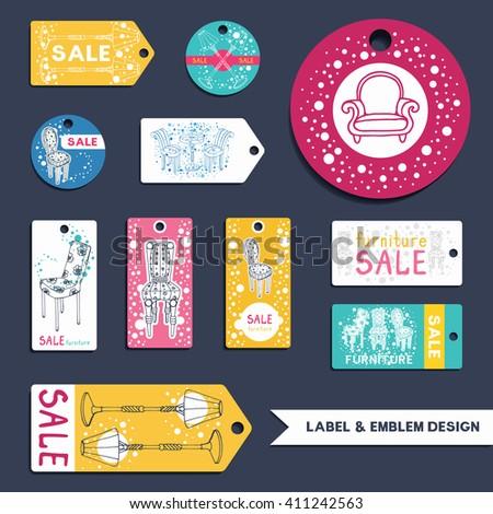 furniture sale sign. Furniture Labels, Emblems Set. Collection Of Vector Sale Templates For Flyer, Price Sign