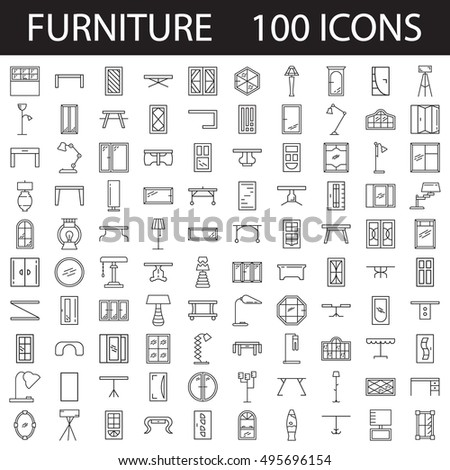 Furniture Line Icon Set Collection Of High Quality Thin Pictograms For Design Homes Interior