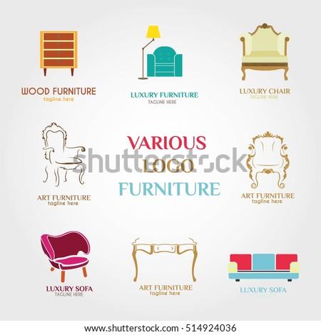 Furniture logo design template vector illustration stock for Chair logo design