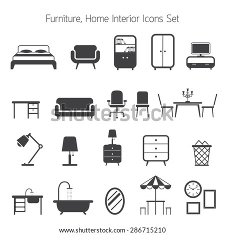Furniture Mono Icons Set, Household, Home Interior Objects - stock vector