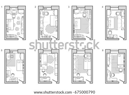 Architecture Design Elements set furniture bedroom top view layout stock vector 560416435