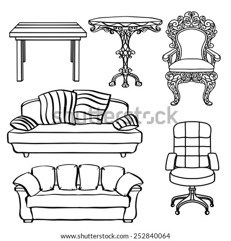 Furniture set, armchair, sofa, table, chair, throne closeup, black lines, isolated on a white background  - stock vector
