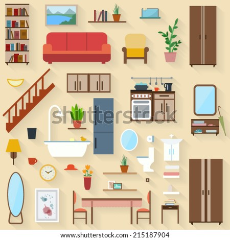 Furniture set for rooms of house. Flat style vector illustration. - stock vector
