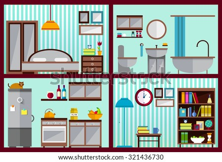 Furniture Set Rooms House Kitchen Living Stock Vector 321436730 Shutterstock