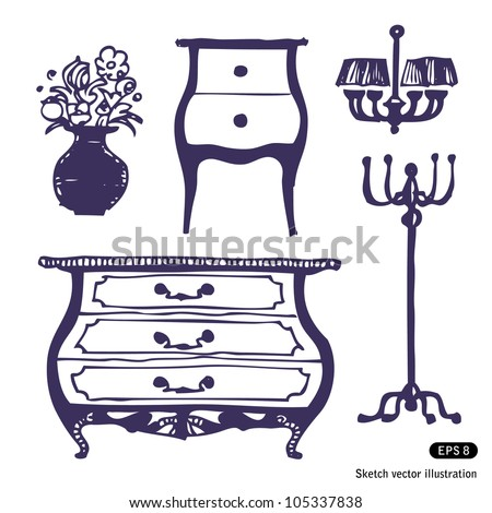 Furniture set. Hand drawn sketch illustration isolated on white background - stock vector