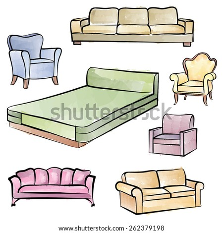 Furniture set. Interior detail isolated watercolor outline collection: bed, sofa, settee, armchair. - stock vector