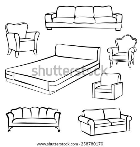 Furniture set. Interior detail outline collection: bed, sofa, settee,armchair. - stock vector