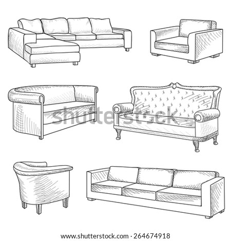 Furniture set. Interior detail outline sketch collection: bed, sofa, settee, armchair. - stock vector