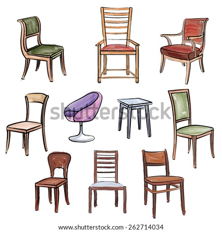 Furniture set. Interior detail watercolor outline collection: chair, armchair, stool - stock vector