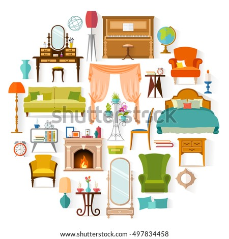 Furniture set isolated on white background. Different furniture and home decoration in the form of a circle. Elements of interior design. Vector illustration in flat style.