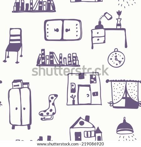 Furniture set seamless pattern - retro style - stock vector