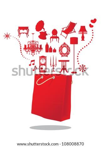 furniture shopping bag - stock vector