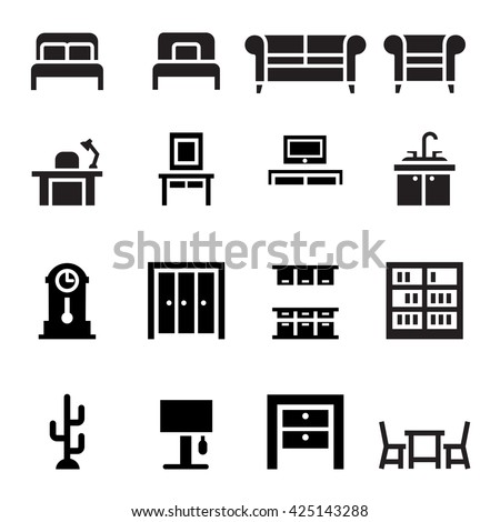Furniture, sofa, bed, wardrobe, dining table, interior design  icon set - stock vector