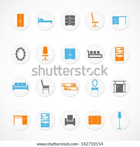 Furniture stickers icons - stock vector