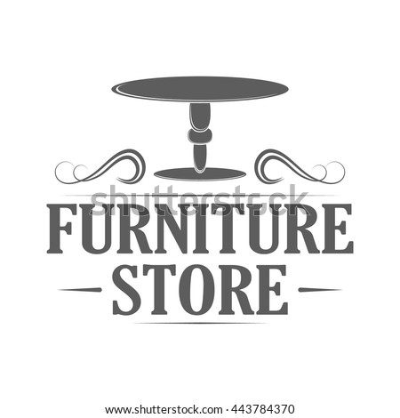 furniture store logo. Furniture Store Emblem On White Background. Logo With Table For Advertising Or Window Sign.
