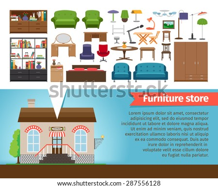 Furniture store set. Interior design home, shop for room and house, chair and table, shelf chandeliers and lamp. Vector illustration - stock vector