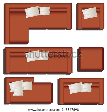 Furniture top view set 39 for interior