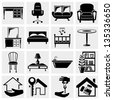 Furniture vector icons set. - stock photo