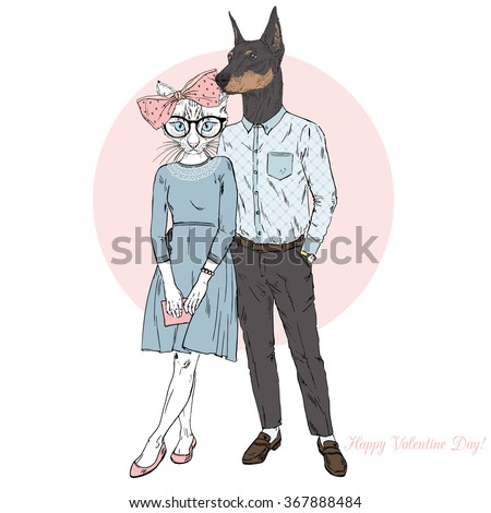 furry art illustration of fashion dog and cat couple, Valentine Day design - stock vector