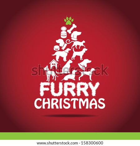 Furry Christmas Tree greeting card design. EPS 10 vector, grouped for easy editing. No open shapes or paths.  - stock vector