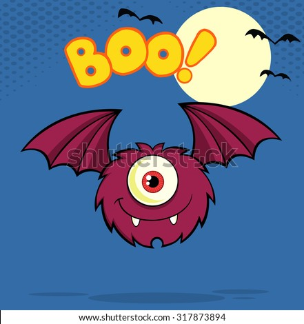 Furry One Eyed Monster Cartoon Character Flying With Text. Vector Illustration Greeting Card - stock vector