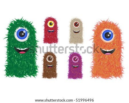furry vector monster family in different colors