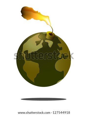 Fuse lit on Polluted Earth - stock vector