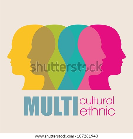 fusion modes silhouettes of men in colors vector illustration - stock vector