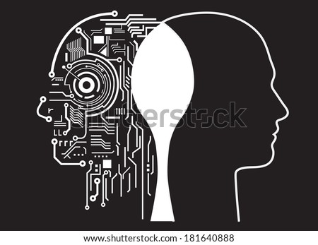 Fusion of human with artificial intelligence  - stock vector
