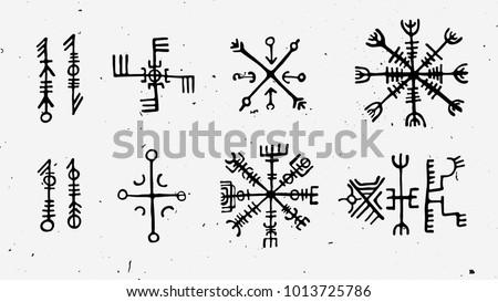 Futhark Norse Islandic Viking Runes Set Stockvector Rechtenvrij