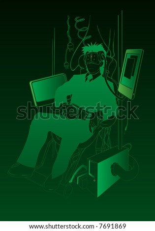 future business man cyber learning, original vector illustration