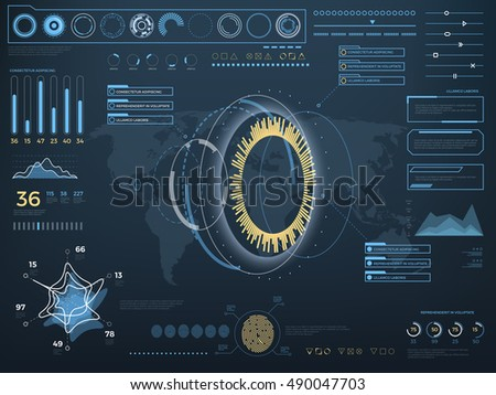 Future concept virtual touch user interface HUD. Vector interactive screen with control panel. Hightech futuristic computer with indicator illustration